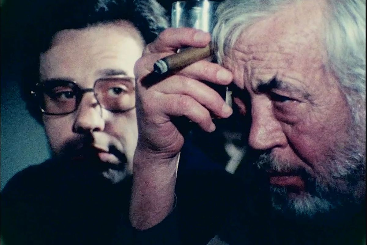 Still of two men in 'The Other Side of the Wind'