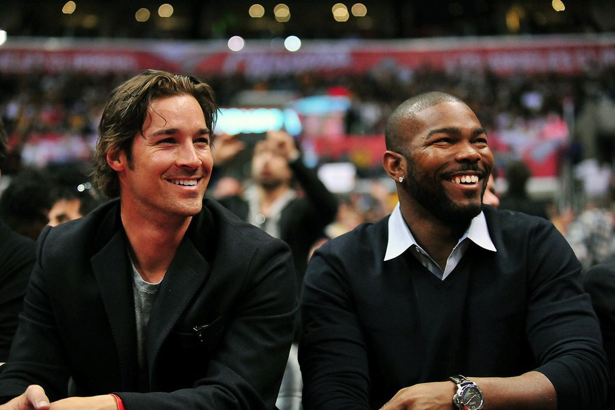 Los Angeles Angels pitcher C.J. Wilson and second baseman Howard Kendrick in attendance to watch the Los Angeles Clippers play against the Los Angeles Lakers at Staples Center.