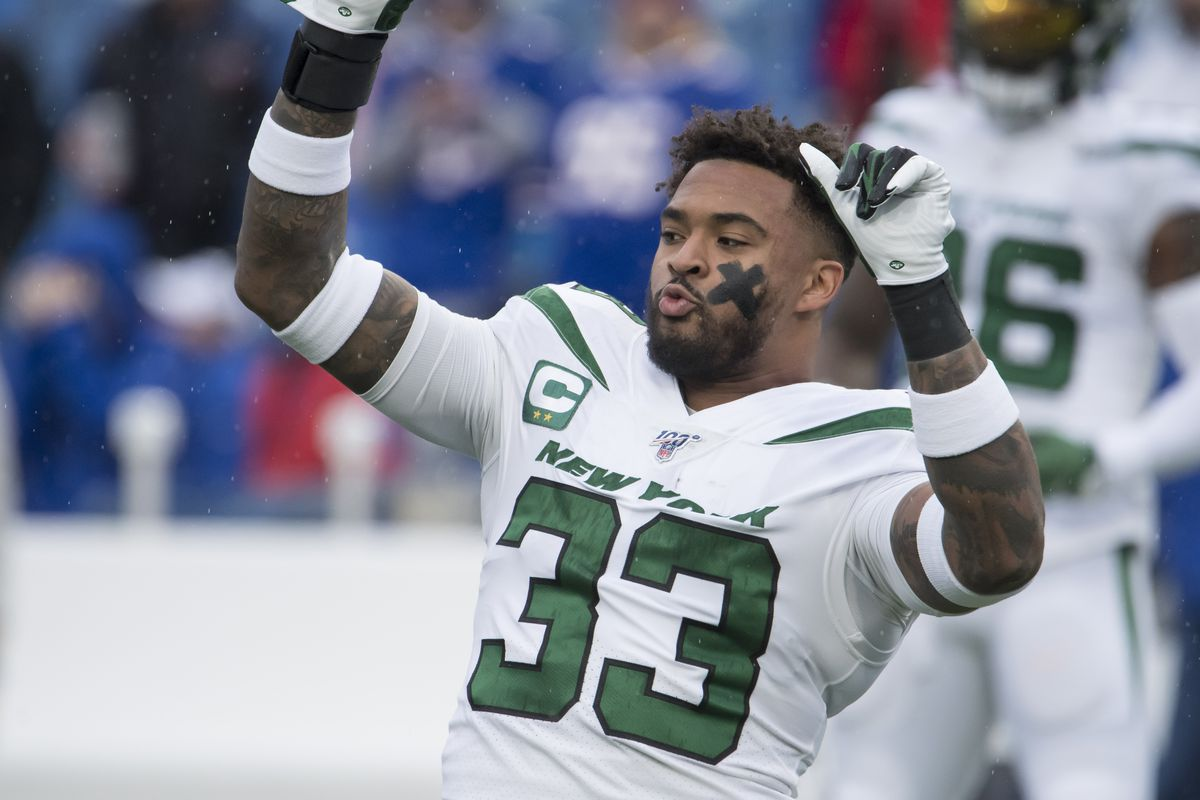 New York Jets strong safety Jamal Adams warms up prior to a game against the Buffalo Bills at New Era Field.