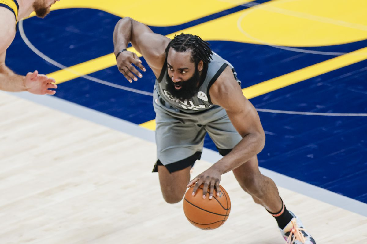 James Harden of the Brooklyn Nets dribbles the ball against the Indiana Pacers at Bankers Life Fieldhouse on March 17, 2021 in Indianapolis, Indiana.