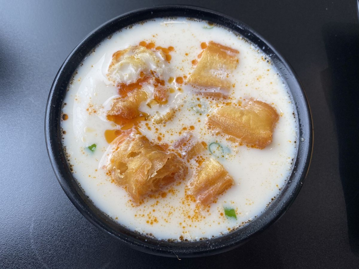 Salty soy milk with Chinese doughnuts at Dumpling Specialist