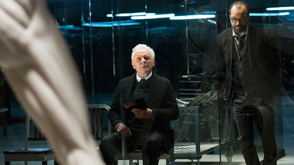 Anthony Hopkins as Dr. Robert Ford and Jeffrey Wright as Bernard Lowe on Westworld.