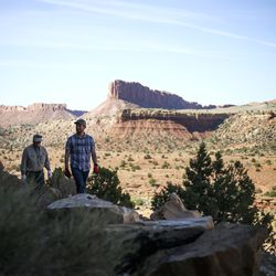 Nick Proctor, right, and his father, Dan, walk their mining claim located in the Colt Mesa area of the former Grand Staircase-Escalante National Monument on Friday, May 14, 2021.