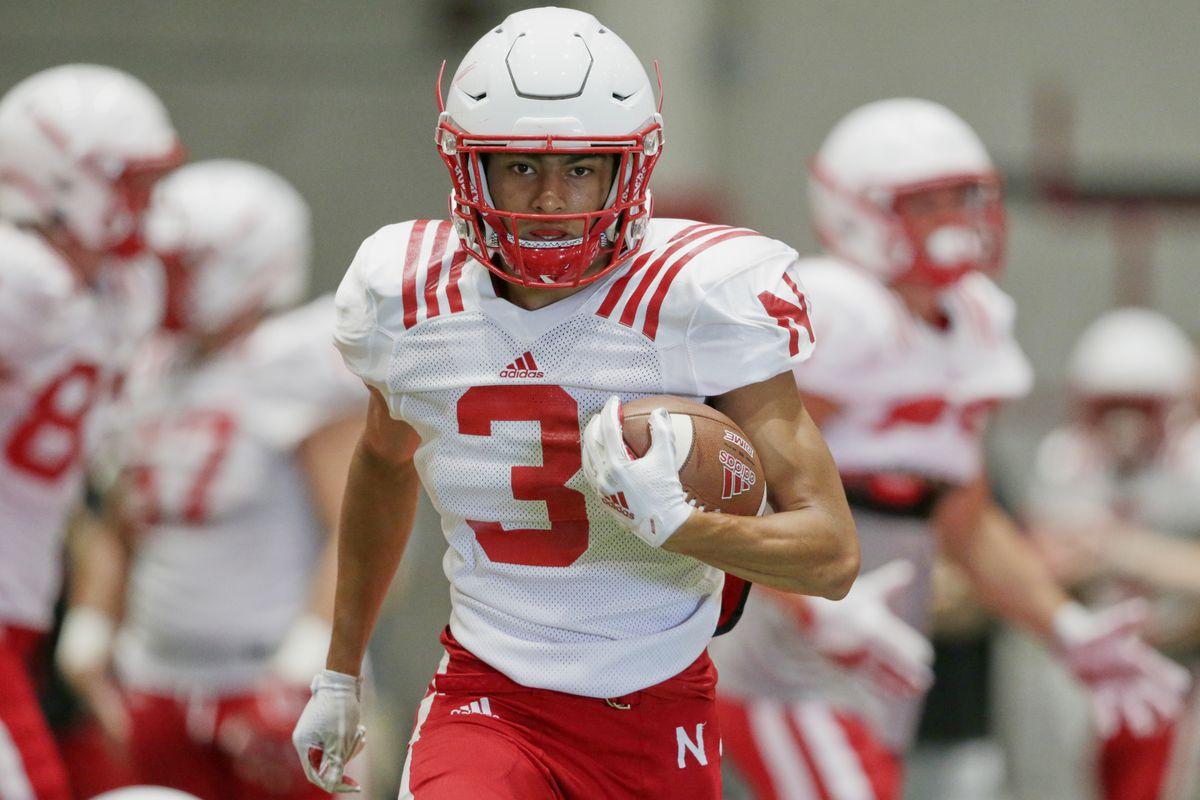 Wide receiver Jamie Nance runs during a Nebraska practice in 2019. Nance announced he is transferring to Utah State.