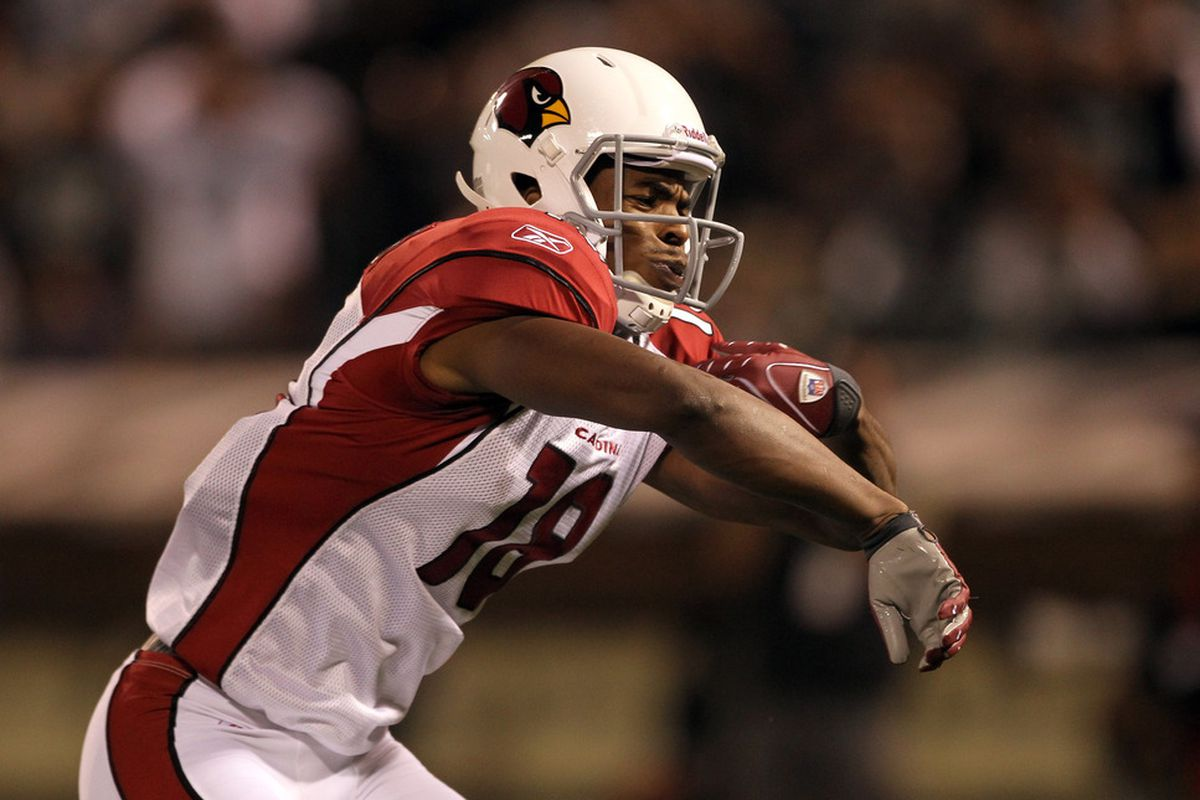 OAKLAND, CA - AUGUST 11:  Stephen Williams #18 of the Arizona Cardinals celebrates scoring a touchdown against the Oakland Raiders at O.co Coliseum on August 11, 2011 in Oakland, California.  (Photo by Ezra Shaw/Getty Images)