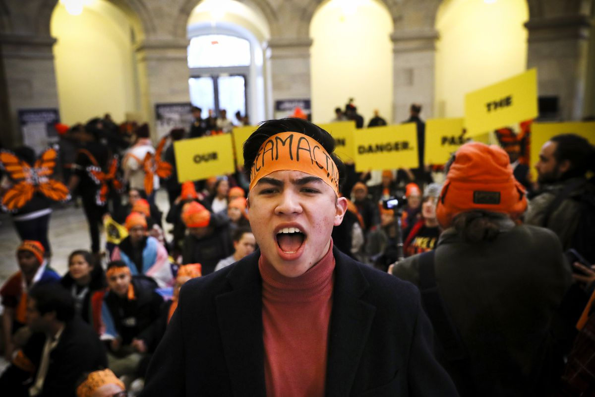 WASHINGTON, DC - FEBRUARY 07:  Immigration activists conduct an act of civil disobediance in the rotunda of the Russell Senate Office Building on February 7, 2018 in Washington D.C. A coalition of activists from across the U.S. staged the demonstration to