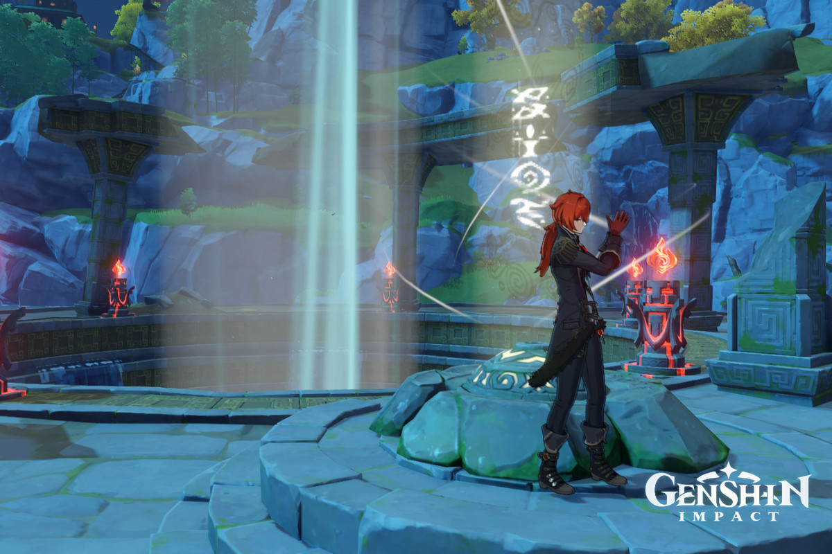 A red-haired man adjusts his gloves near a torn-down temple