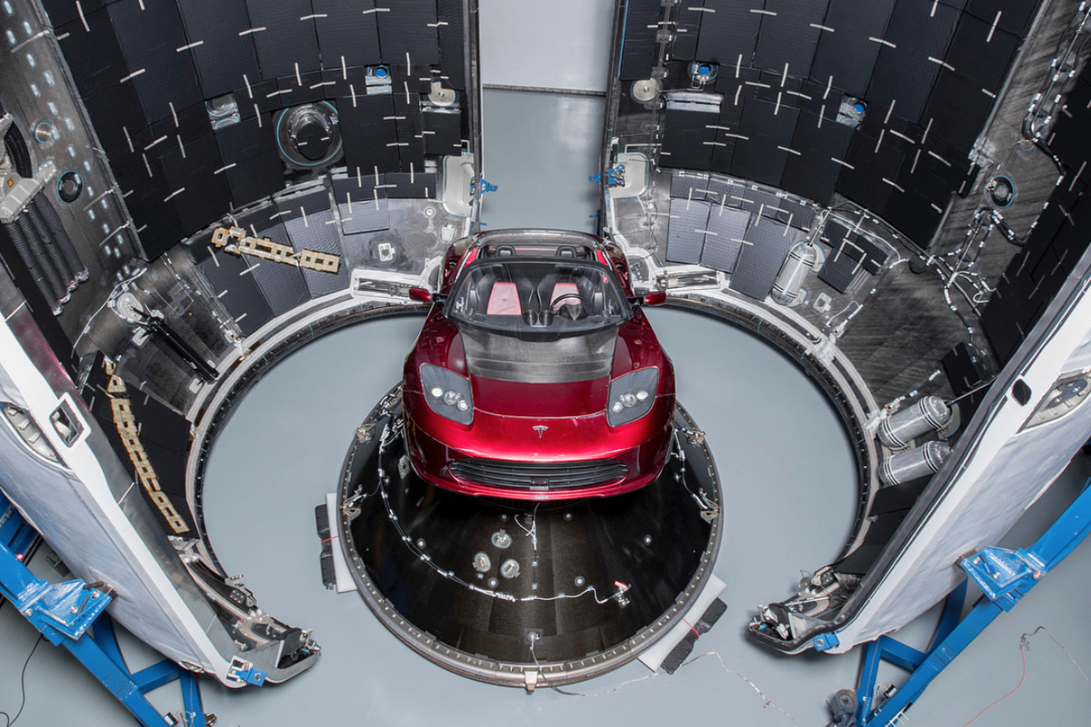 Elon Musk shows off the Tesla Roadster that SpaceX will send