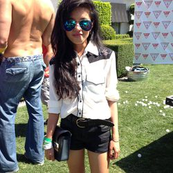 LA blogstar Olivia Lopez of Lust for Life looking Western-cool in reflective aviators.