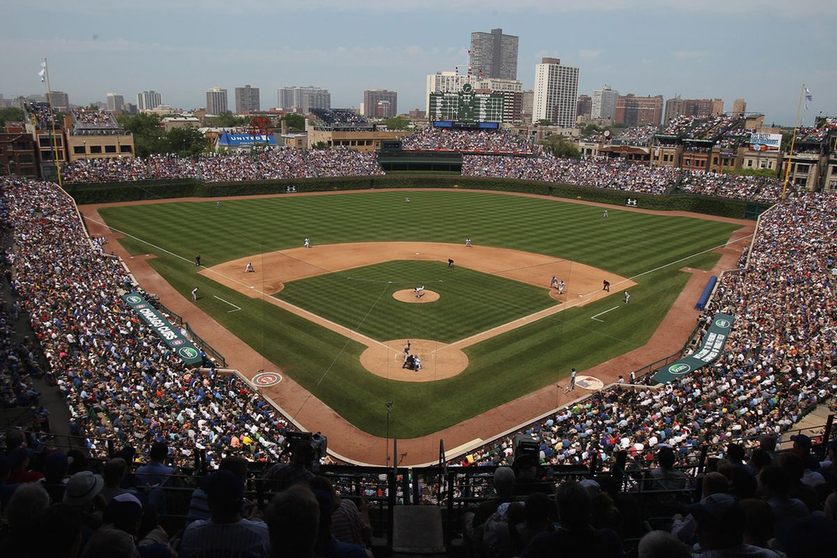 A general view of Wrigley Field as the Chicago Cubs take on the New York Yankees in Chicago, Illinois. (Photo by Jonathan Daniel/Getty Images)