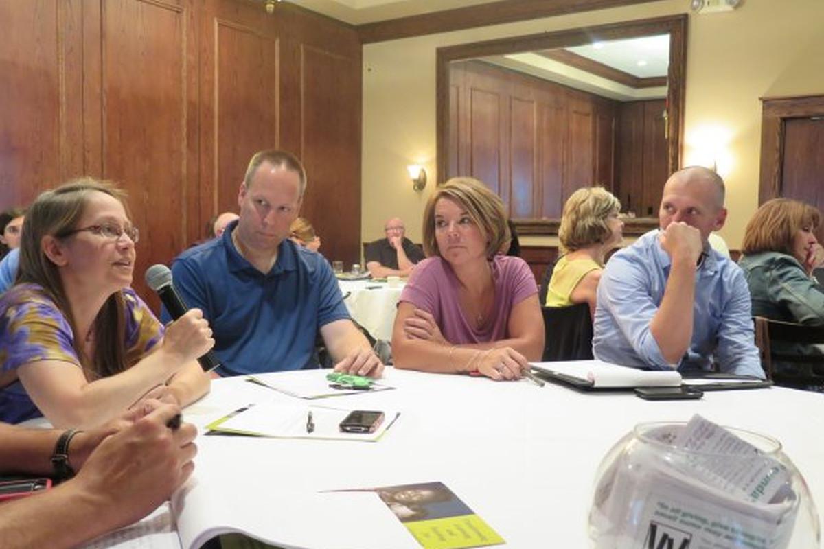 Washington Township teachers meet for IB training last year.