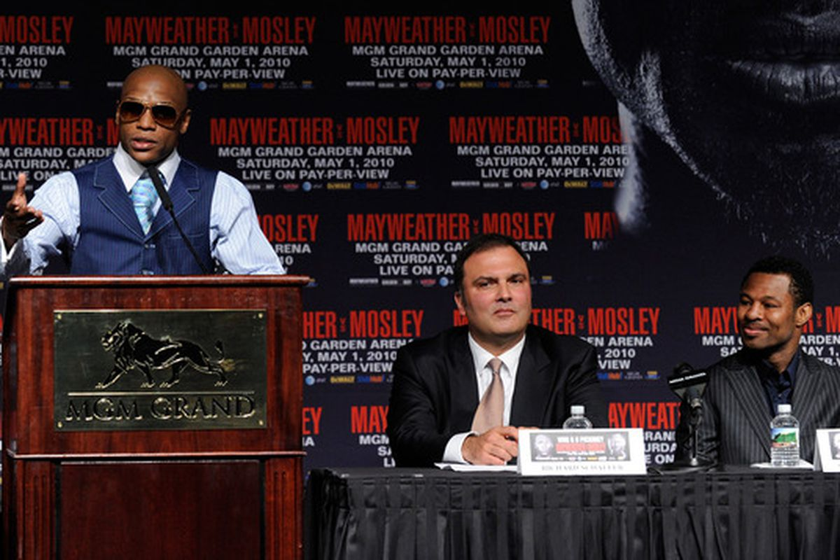 Richard Schaefer (right) believes that Floyd Mayweather Jr and Victor Ortiz could set PPV records, or at least he's saying so. (Photo by Ethan Miller/Getty Images)