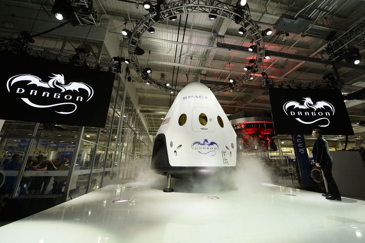 The new Dragon V2 spacecraft, revealed by Space X on Thursday