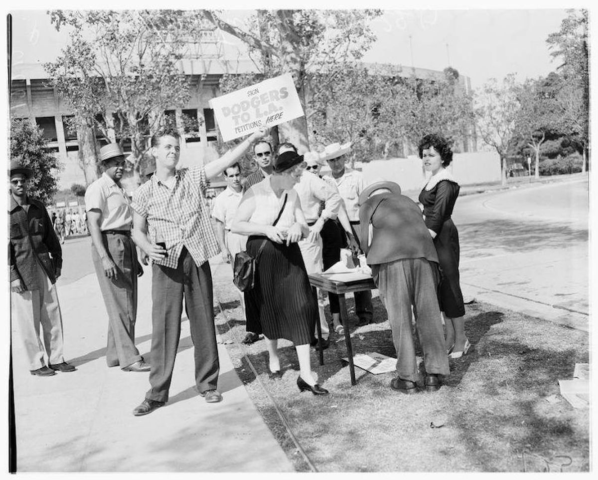 Photos of fans cheering on the dodgers starting in 1958 curbed la frances hambelton 15 of canoga park gathers signatures for a petition to bring dodgers to los angeles in the fall of 1957 usc digital library buycottarizona Image collections