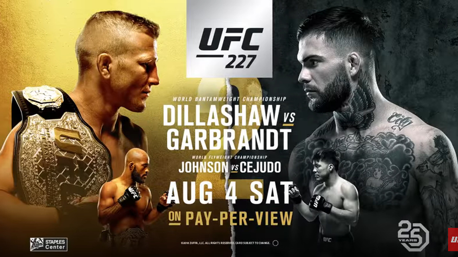 Image result for UFC 227: Dillashaw vs Garbrandt 2 Fight Live