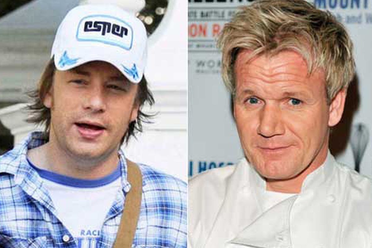 "Jamie Oliver [Photo: <a href=""http://www.slashfood.com/2011/01/18/gordon-ramsay-and-jamie-oliver-accused-of-fish-hypocrisy/"">Bauer-Griffin.com;</a>]/Gordon Ramsay"