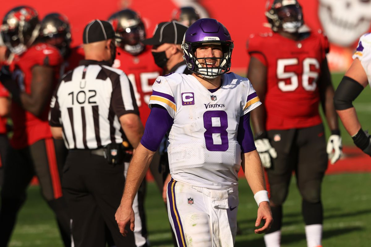 Kirk Cousins #8 of the Minnesota Vikings stands on the field during their game against the Tampa Bay Buccaneers at Raymond James Stadium on December 13, 2020 in Tampa, Florida.