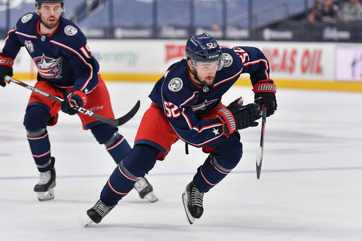 Emil Bemstrom #52 of the Columbus Blue Jackets skates against the Detroit Red Wings at Nationwide Arena on May 8, 2021 in Columbus, Ohio