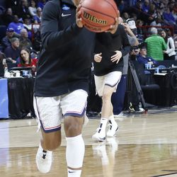 UConn's Crystal Dangerfield warms up before their Sweet 16 matchup with Duke.