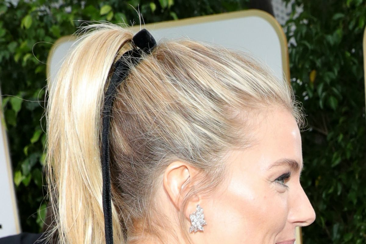 Sienna Miller closeup on back of her head