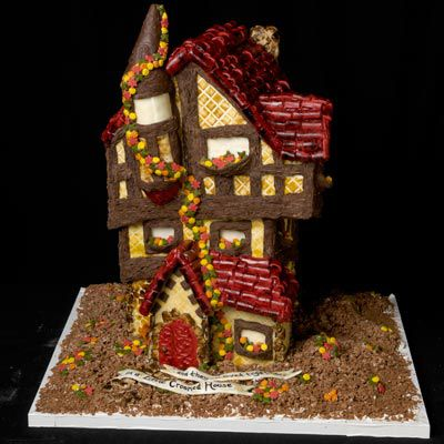 Crooked gingerbread house.