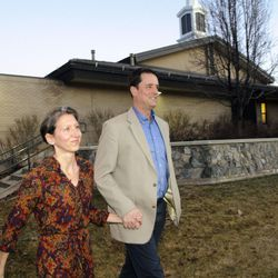 John Dehlin and his wife Margi Dehlin walk around the church building prior to his disciplinary council held by The Church of Jesus Christ of Latter-day Saints, Sunday, Feb. 8, 2015, in North Logan, Utah.