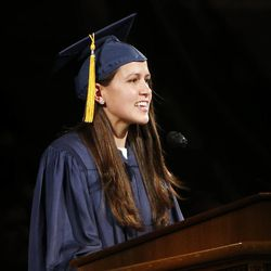 Graduate Megan Hirschi speaks during BYU Spring 2014 Commencement exercises in Provo Thursday, April 24, 2014.