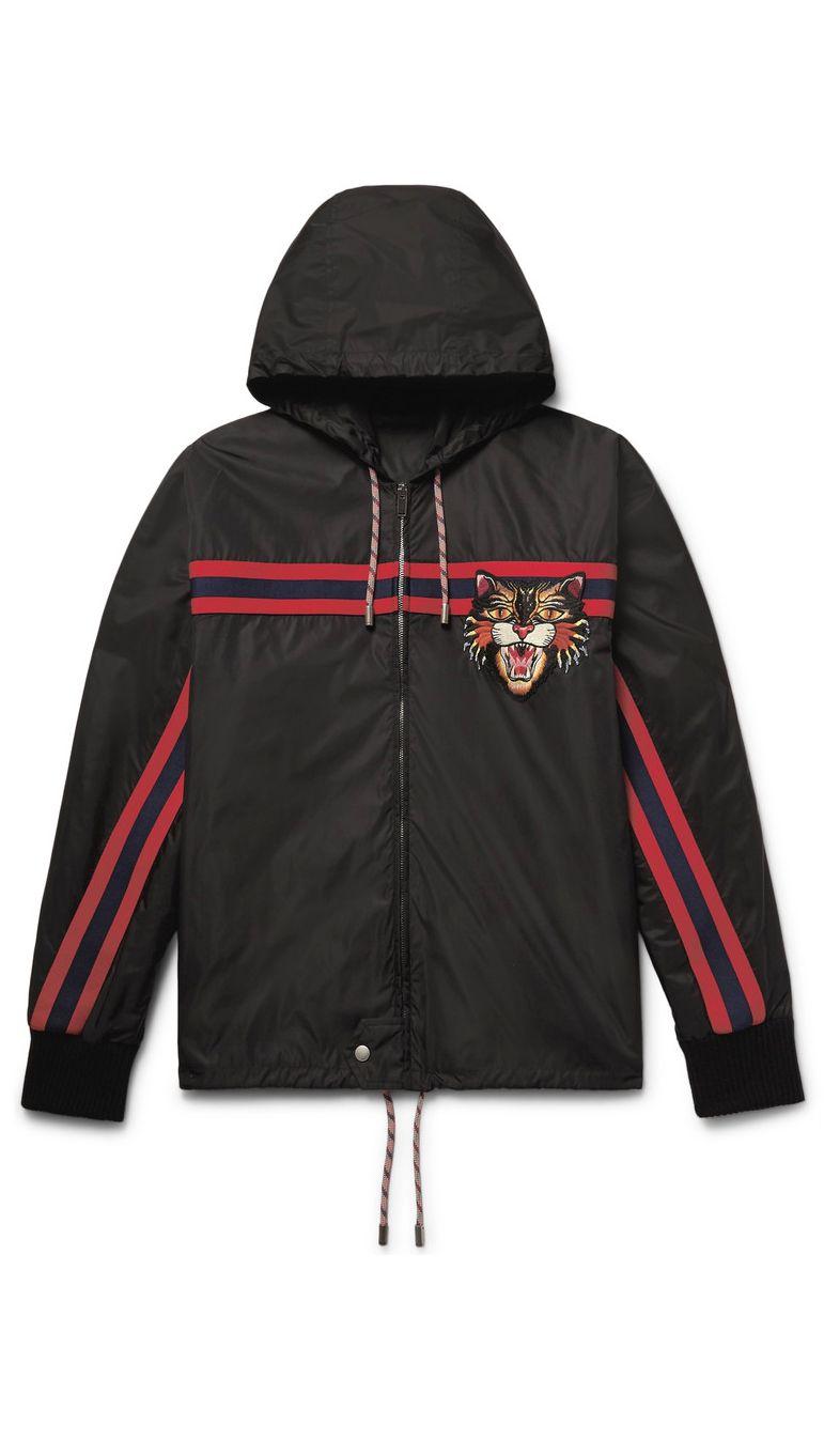 Gucci Appliquéd Shell Hooded Jacket, $1,500