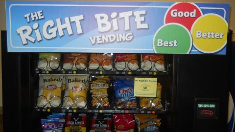 One of the new vending machines offering healthier snacks in the Weld School District 6.