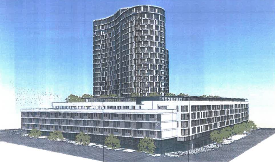 Rendering of mixed use project