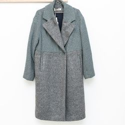 PRZHonskya grey turquoise classic wool coat, $1,375.00