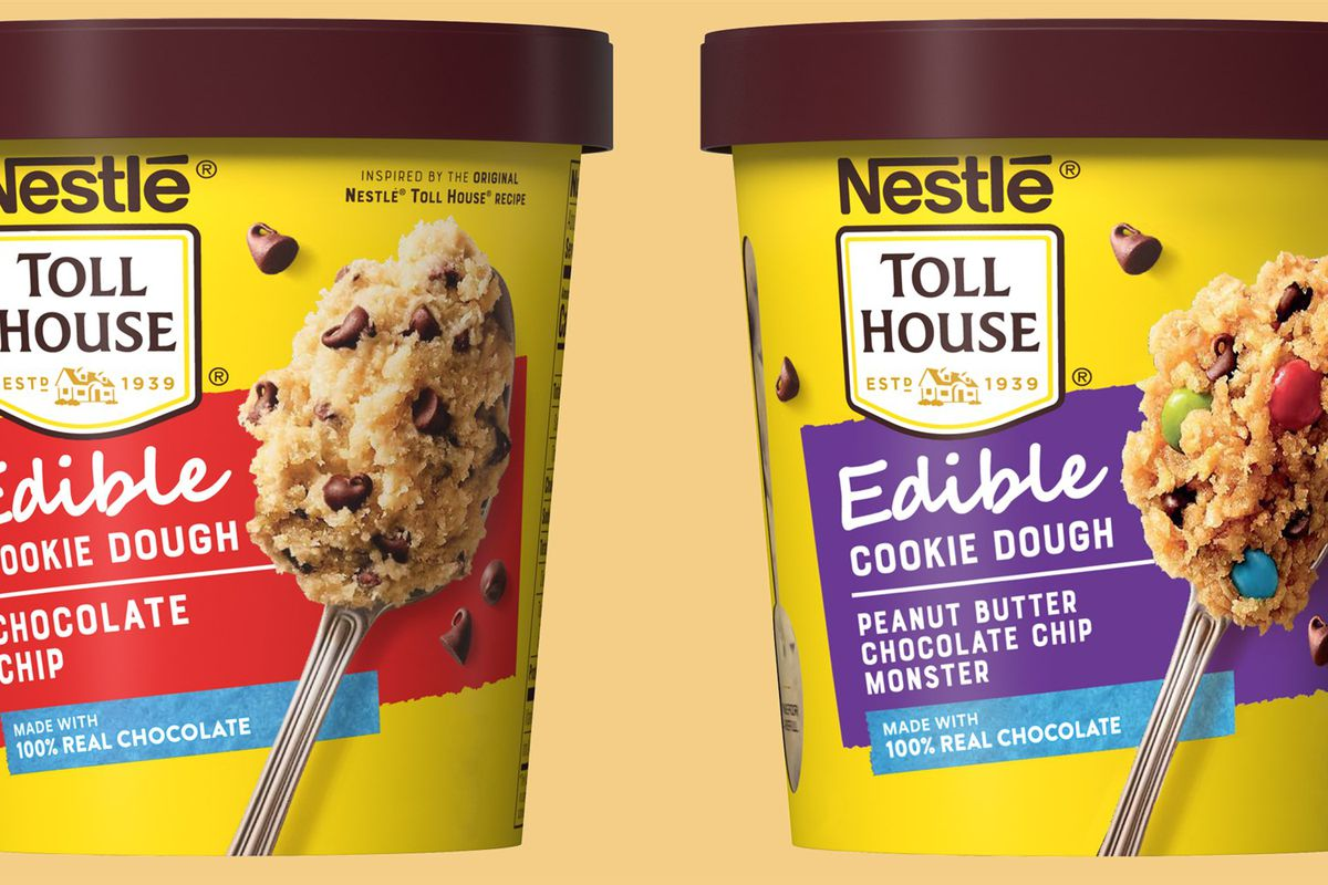 Two tubs of Nestle's edible cookie dough