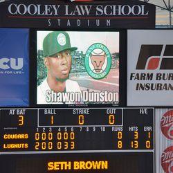 Closeup of the scoreboard