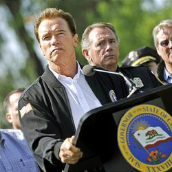 Gov. Schwarzenegger holds a press conference after he was briefed on the status of the Lockheed Fire and the firefighting efforts statewide at the Lockheed Fire Incident Command Post at the Watsonville Fairgrounds in Watsonville, Calif., Saturday.