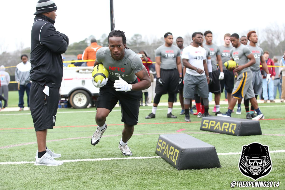 Waynesboro, Ga., athlete Donqual Young at the 2014 NFTC Atlanta Combine on March 23.