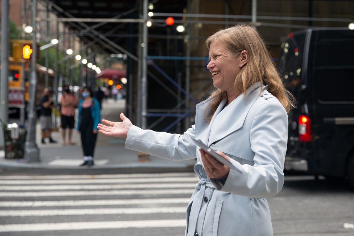Kathryn Garcia greets voters on the Upper West Side on primary day, June 22, 2021.
