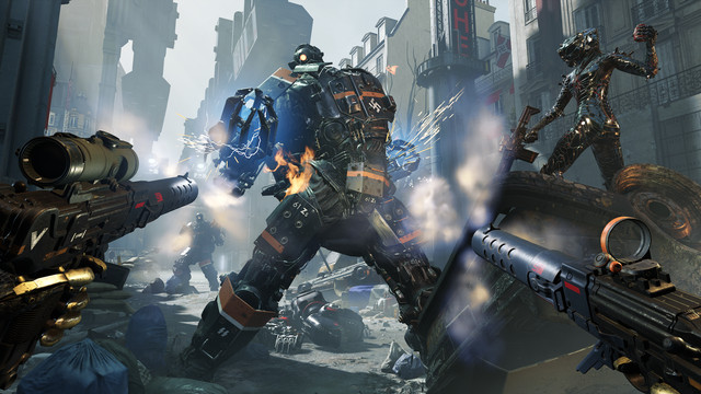 the sisters from Wolfenstein: Youngblood attack a Nazi in mechanical armor