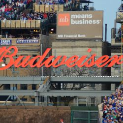 7:05 p.m. Temporary location of the Budweiser sign in right field -