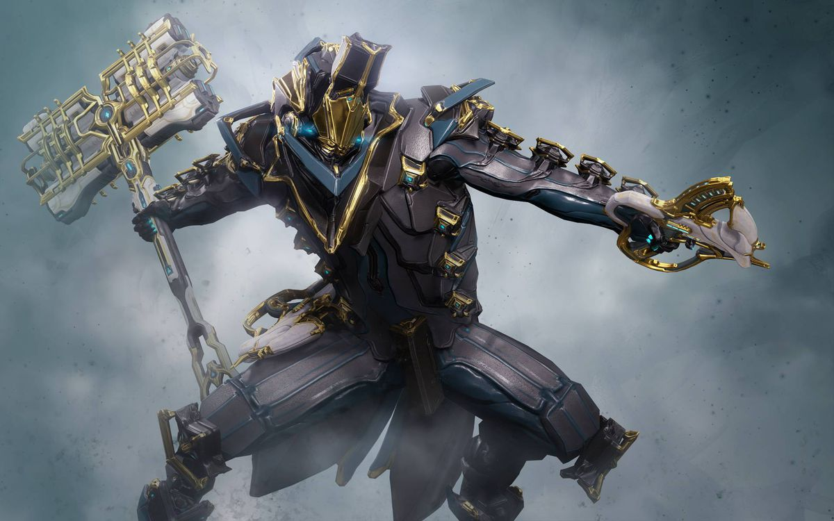 Warframe - a Warframe poses with his weapon