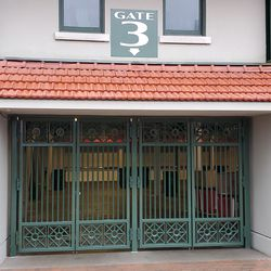 """Closeup of one of the entrances at the main gate, now """"Gate 3,"""" formerly Gate F"""