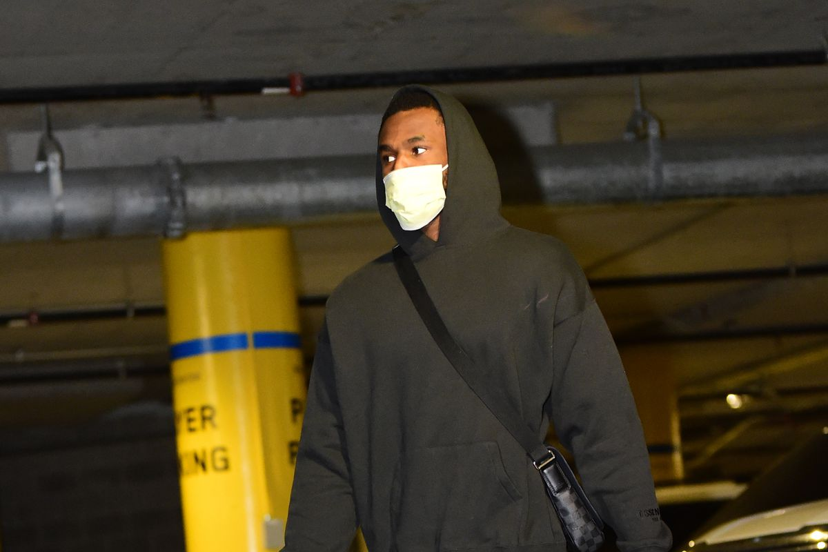 Andrew Wiggins #22 of the Golden State Warriors arrives to the arena prior to the game against the Memphis Grizzlies during the 2021 NBA Play-In Tournament on May 21, 2021 at Chase Center in San Francisco, California.
