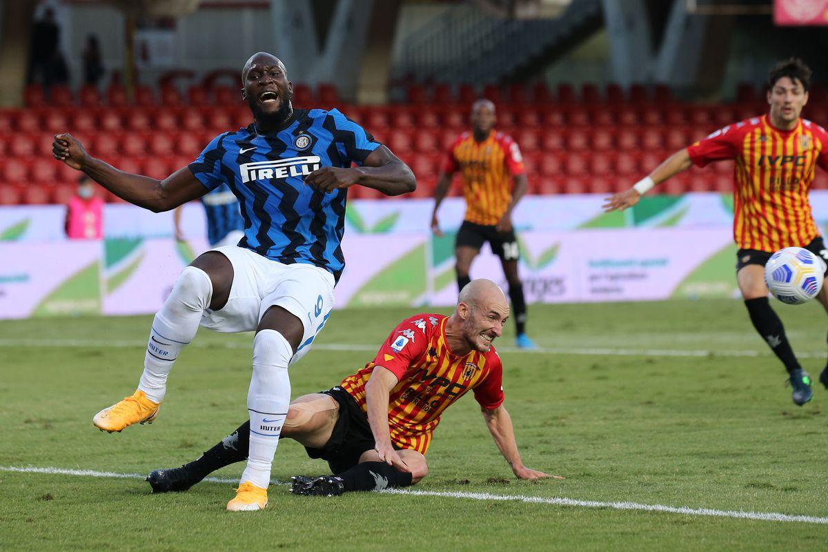 Inter Milan's Belgian forward Romelu Lukaku reacts after...