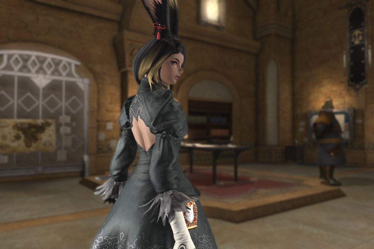 A Viera stands wearing 2B's dress