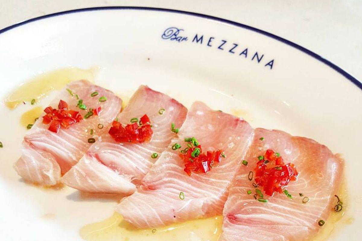 Yellowtail crudo at Bar Mezzana