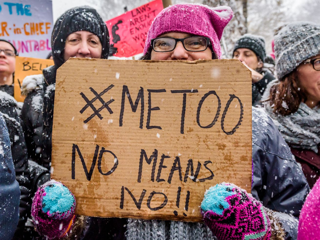 Protesters at a #MeToo rally in New York City in December 2017.