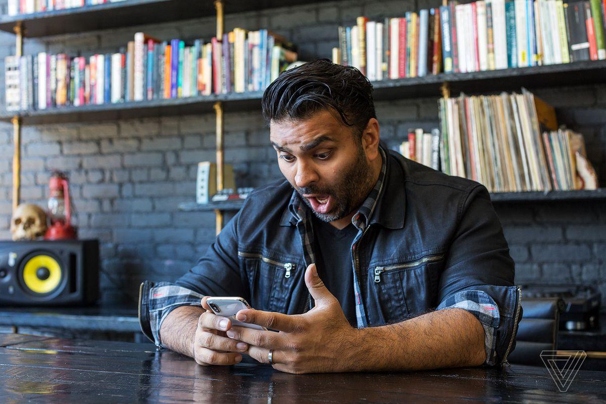 Verge Editor-in-Chief Nilay Patel engaged in the animoji creative process