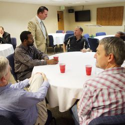 Former state Sen. Dan Liljenquist talks with attendees prior to speaking to pastors at the Salt Lake Christian Center in Salt Lake City  Tuesday, June 12, 2012.