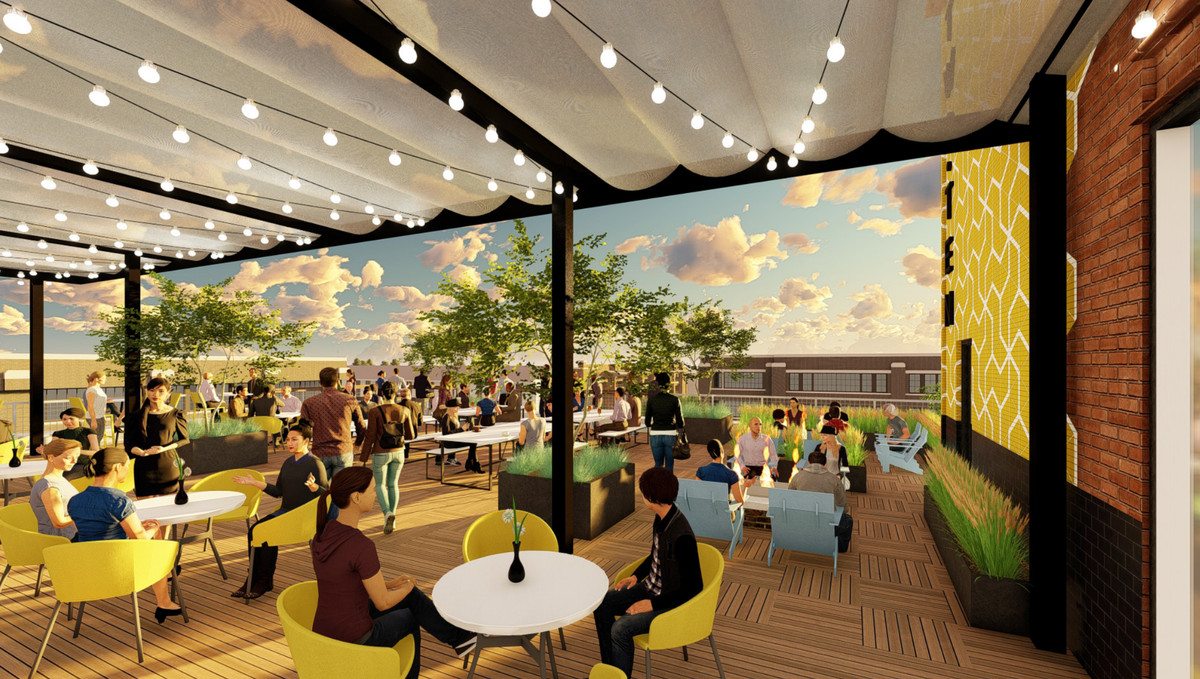Some customers sit at tables under and awning, and others sit under the dusk sky in this rendering.