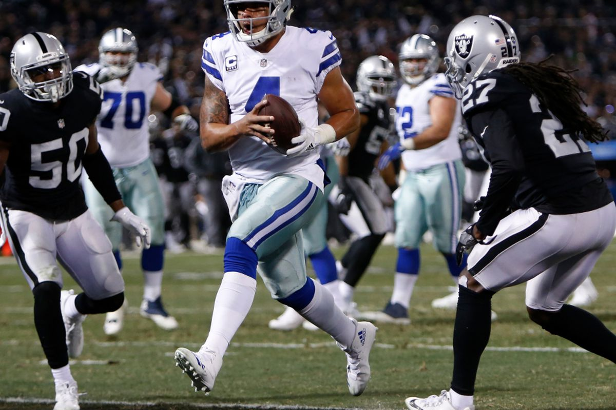 73dde573f28 OAKLAND, CA - DECEMBER 17: Dak Prescott #4 of the Dallas Cowboys scores on  a five-yard run against the Oakland Raiders during their NFL game at ...
