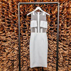 """<b>Cushnie et Ochs</b> Neoprene and Silk Organza Dress, <a href=""""http://owennyc.com/shop-women/women/women-dresses/womens-neoprene-and-silk-organza-dress.html"""">$1,595</a>"""